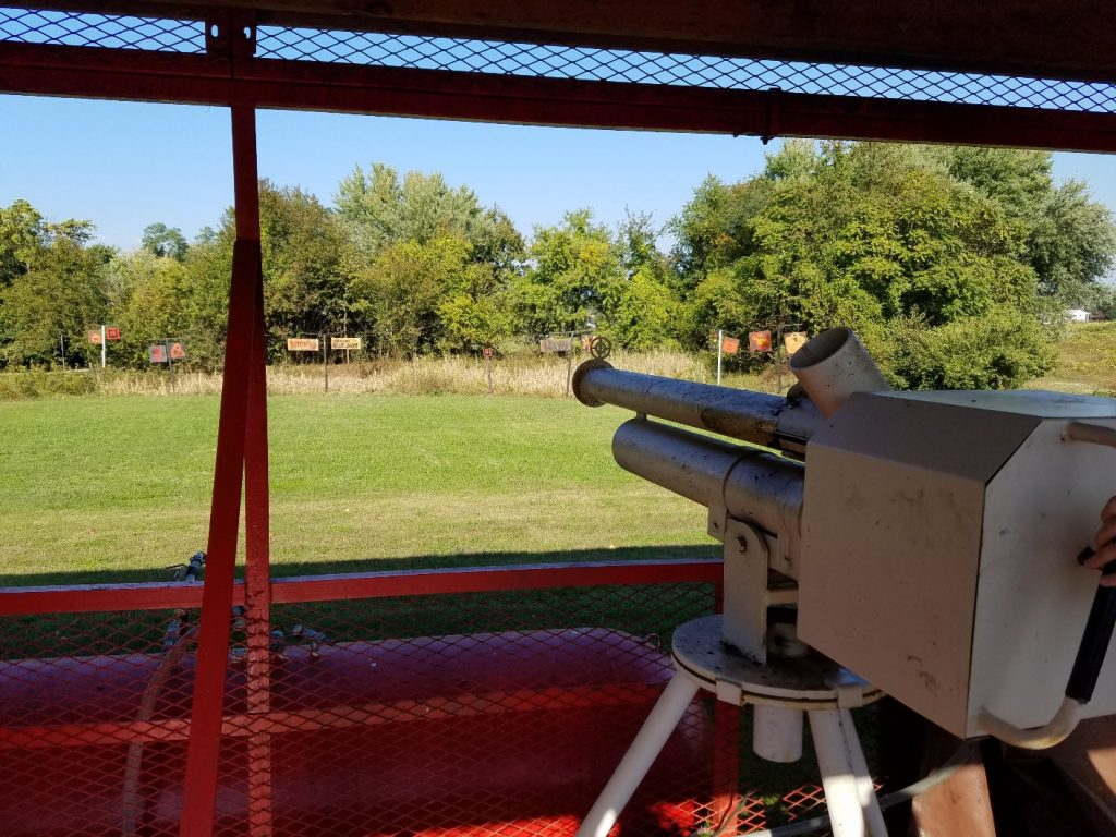 Cannon ready to shoot apples into a field