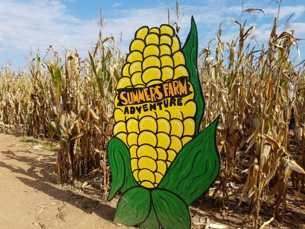 Summer's Farm giant corn maze sign