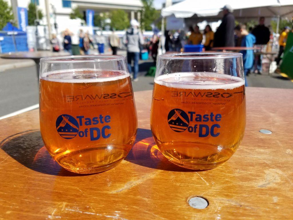 pumpkin beer in Taste of DC plastic glasses