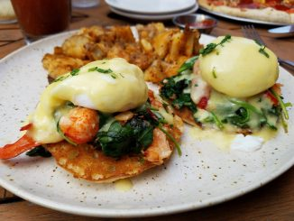 Lobster Eggs Benedict with potatoes