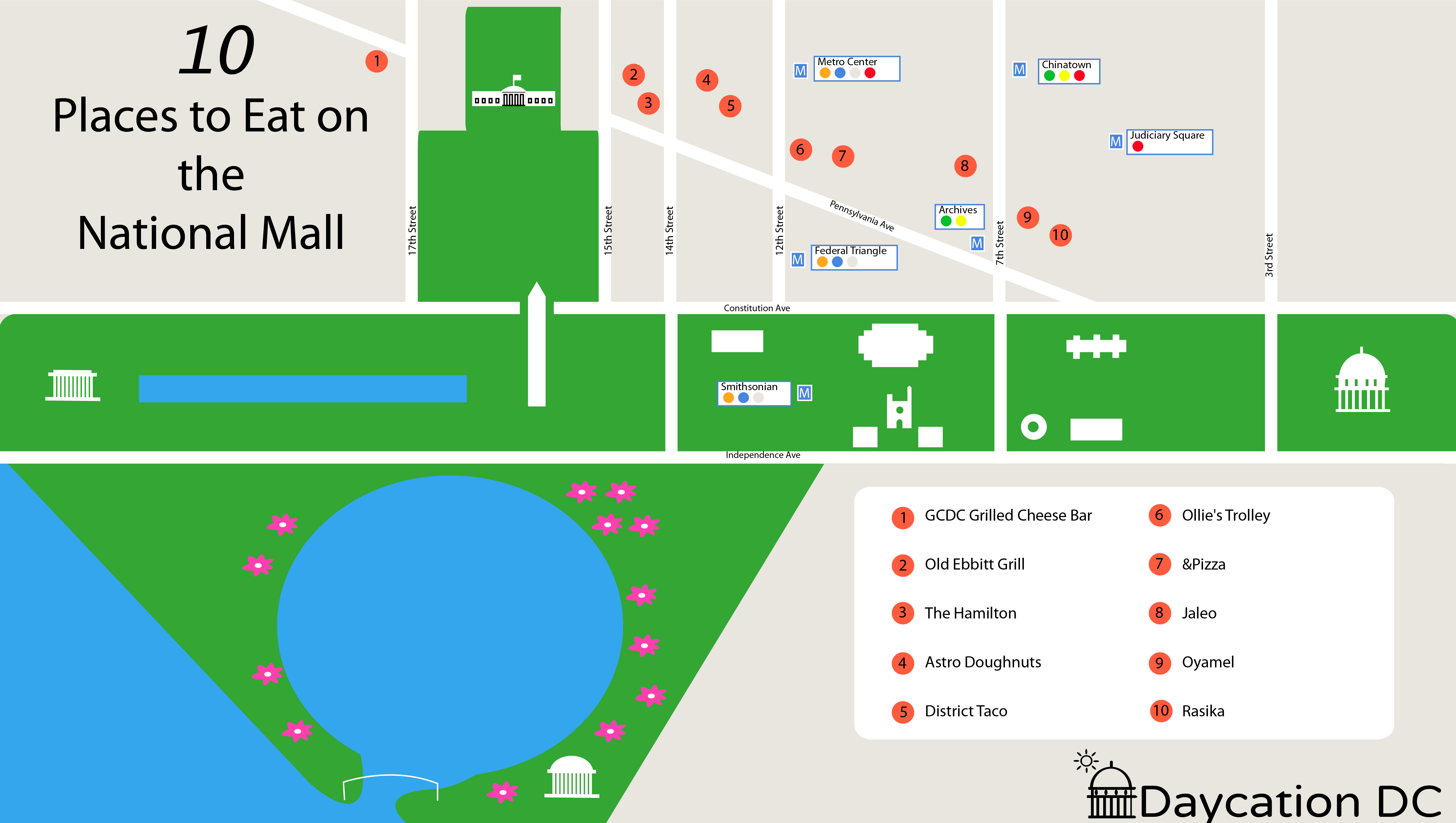 Places to eat on the National Mall Map
