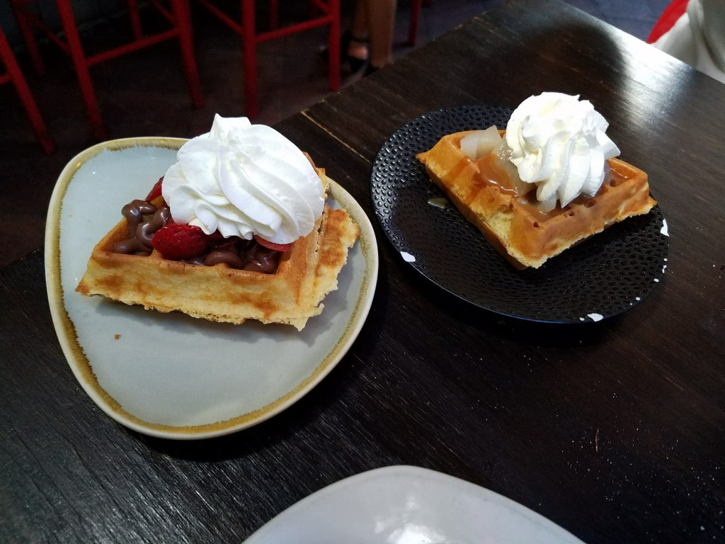 Strawberry and pear waffle