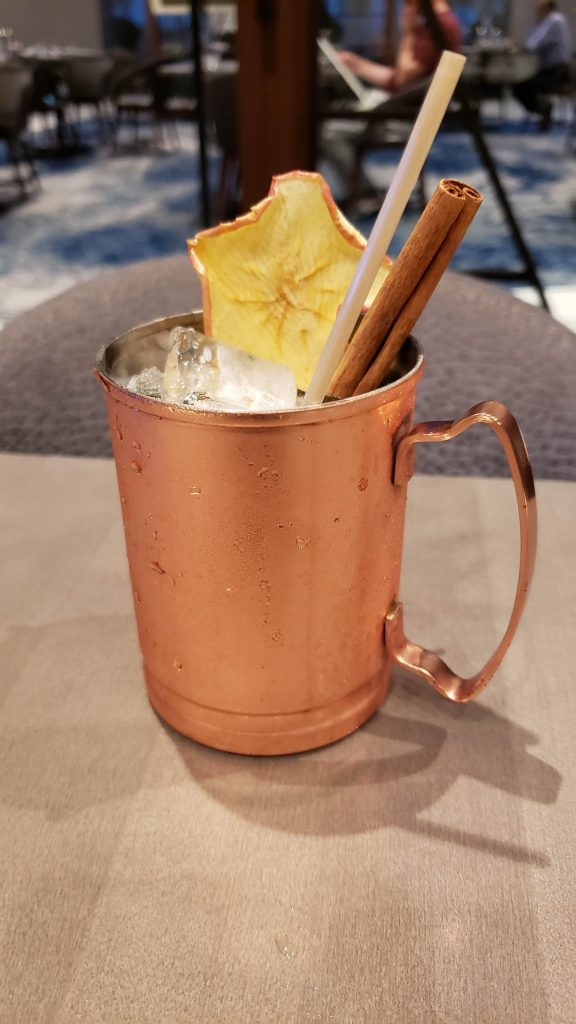 Mule mug with apple chip and cinnamon stick