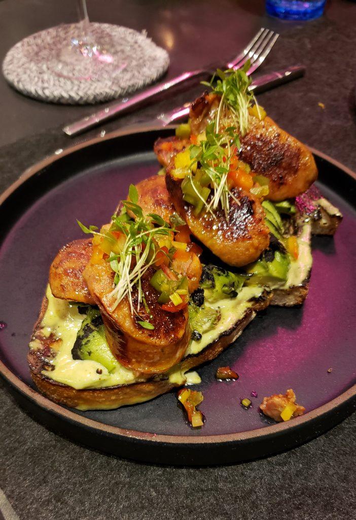 Sausage and avocado on toast