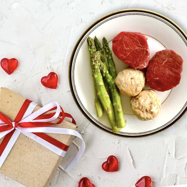 Valentine's Day dinner with steak and crab cakes