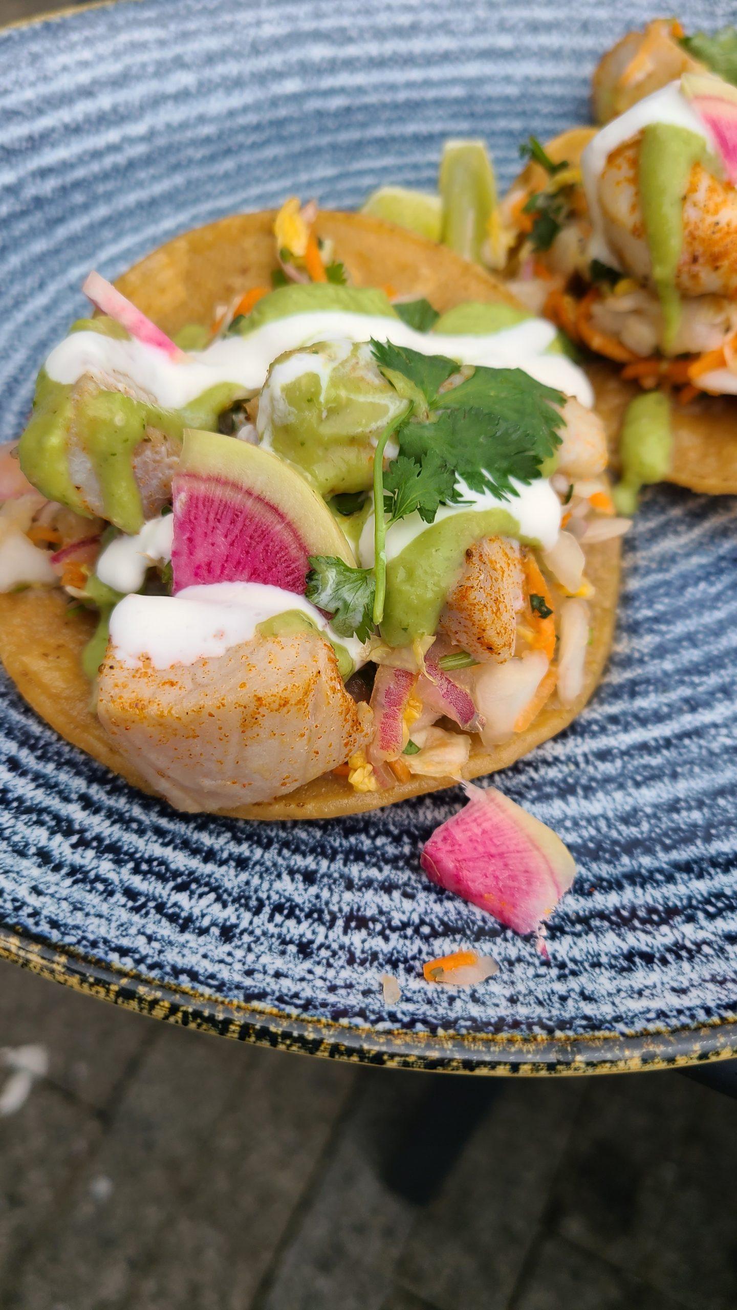Mahi mahi tostadas with avocado salsa
