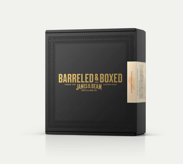Black whiskey box with gold letters