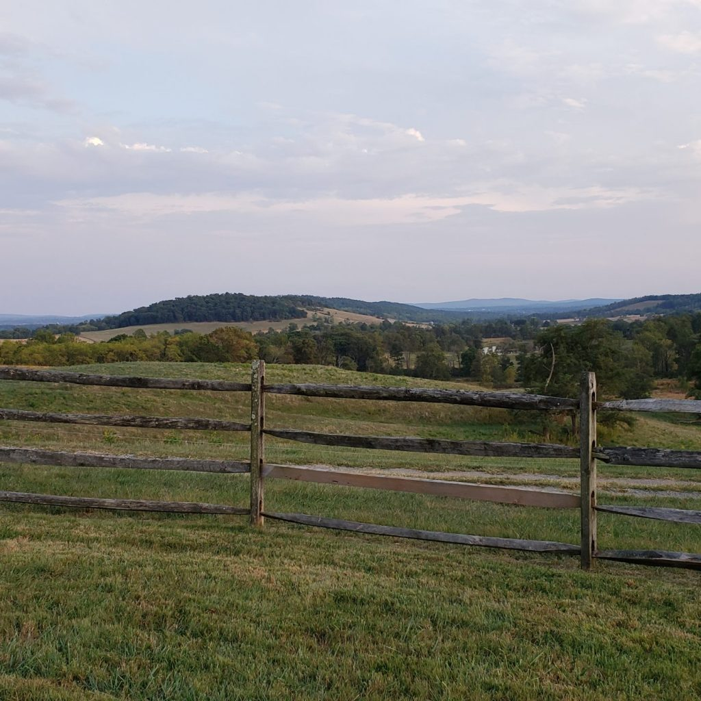 Mountain view with fence